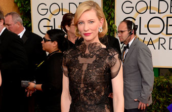 Cate Blanchett Wearing Chopard Earrings From The Green Carpet Collection At The 2014 Golden Globe Awards