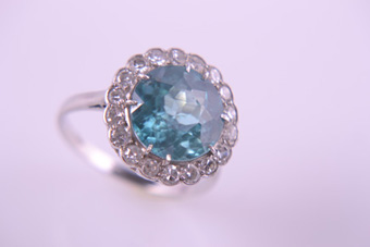 White Gold 60's Vintage Ring With A Blue Zircon And Diamonds