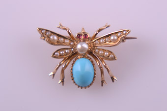 18ct Yellow Gold Victorian Insect Brooch With Turquoise, Seed Pearls And Rubies