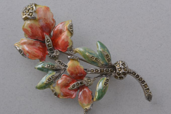 Vintage Floral Brooch With Enamel And Marcasite