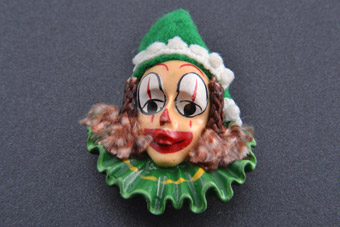 Plastic Clown Brooch