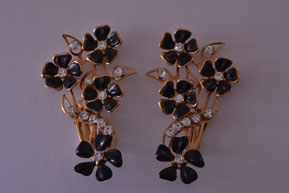 Vintage Clip On Up-The-Ear Earrings With Paste