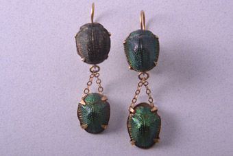 Silver Gilt Victorian Hook Drop Earrings With Scarabs