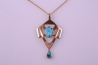 9ct Rose Gold Pendant With Turquoise