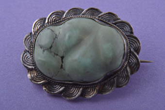 Silver Vintage Oriental Brooch With Turquoise