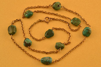 9ct Gold Victorian Necklace With Turquoise