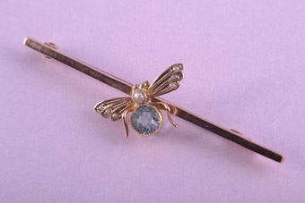 9ct Rose Gold Edwardian Bug Brooch With Aquamarine And Pearls