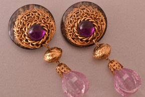 Vintage Purple Clip On Earrings With Gilt Filigree
