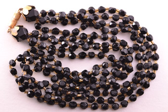 1930's Multi-Strand Necklace With French Jet Beads