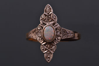 Yellow And White Gold Art Deco Navette Ring With An Opal And Diamonds
