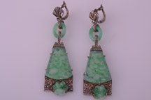 Art Deco clip-on earrings with marcasite