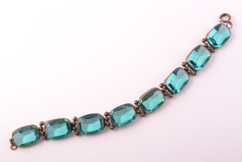 Gilt 1930's Bracelet With Glass Stones