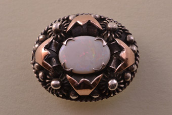 Silver And Gold Vintage Brooch With An Opal