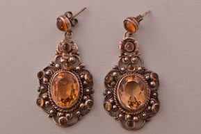 Silver Vintage Stud Drop Filigree Earrings With Citrines