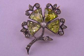 Silver Victorian Brooch With Paste