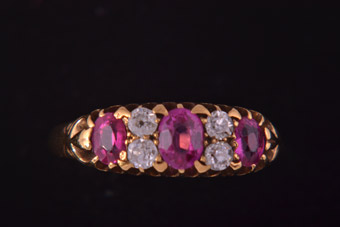 18ct Gold Victorian Ring With Rubies And Diamonds