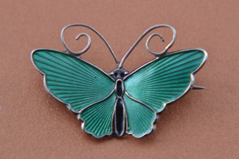 Silver Gilt And Enamel Vintage ''David-Andersen'' Butterfly Brooch From Norway
