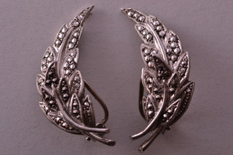 Silver 1940's Clip On Earrings With Marcasite