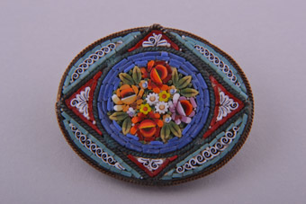 Vintage Italian Brooch With Mosaic