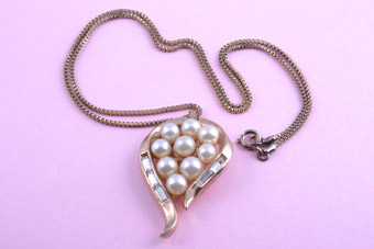 Gilt Trifari Pendant With Faux Pearls And Diamanté