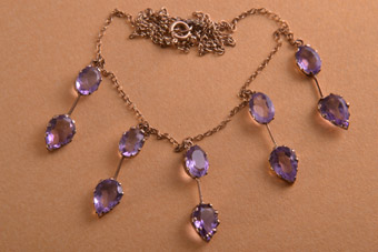 9ct Gold Edwardian Necklace With Amethysts
