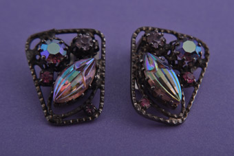 1960's Clip On Earrings With Pink Crystal