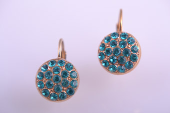 Modern Hook Earrings With Aqua Blue Crystals