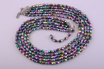 1950's Necklace With Rainbow Glass Beads