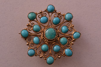 15ct Yellow Gold Victorian Brooch With Turquoise