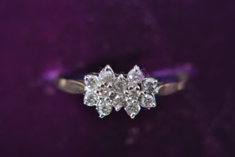 14ct Yellow Gold 1980's Vintage Ring With Diamonds