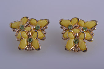 Plastic 1950's Butterfly Clip On Earrings With Crystals