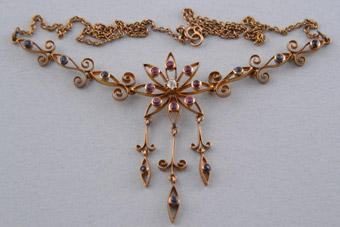 Gold Edwardian Necklace With Sapphires, Rubies And A Diamond