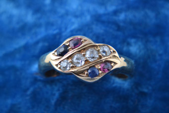 18ct Gold Vintage Ring With Diamonds, Sapphires And Rubies
