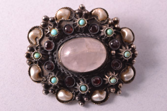 Brooch With Rose Quartz, Faux Pearls, Garnets And Turquoise