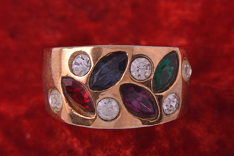 1980's Chunky Ring With Coloured Paste