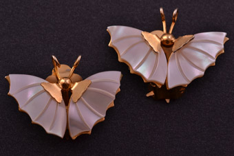 Gilt And Mother-Of-Pearl Vintage Butterfly Clip On Earrings