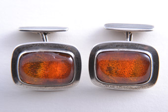 Silver And Amber Retro Cufflinks