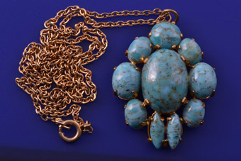 Gilt Vintage Pendant With Faux Turquoise