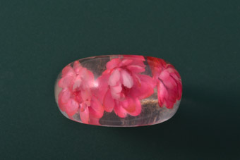 Plastic Vintage Ring With Dried Flowers
