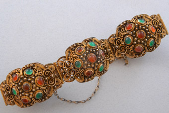 Silver Gilt Oriental Bracelet With Carnelian And Chalcedony