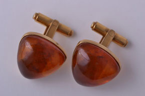 Gold Plated Retro Cufflinks With Amber