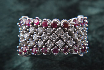 18ct White Gold 1980's Vintage Ring With Rubies And Diamonds