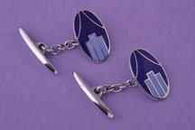 Oblong cufflinks, silver and blue in colour