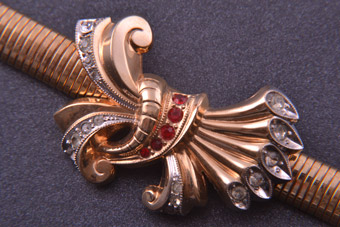 Rolled Gold 1940's Retro Bracelet With Paste