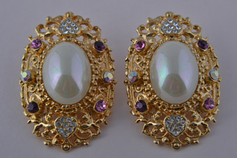 Gilt Clip On Earrings With Faux Pearls And Coloured Diamanté