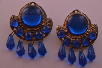 Enormous Gilt Vintage Clip On Earrings