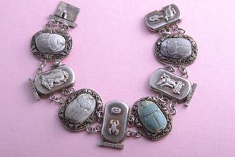 Silver 1920's Egyptian Scarab Bracelet
