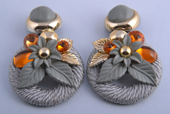 Silk Thread 1970's Clip On Earrings With Orange Stones