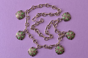 Silver Art Deco Vintage Necklace With Hanging Enamel Discs