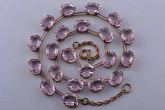 Gilt 1930's Necklace With Rhinestones